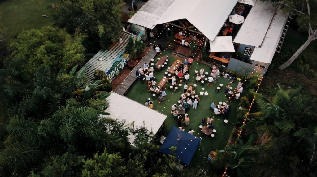 Drone video from Pomona Distillery capturing their outdoor setting